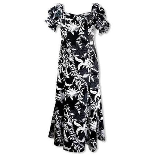 punahou black hawaiian aikane dress | long dress hawaiian