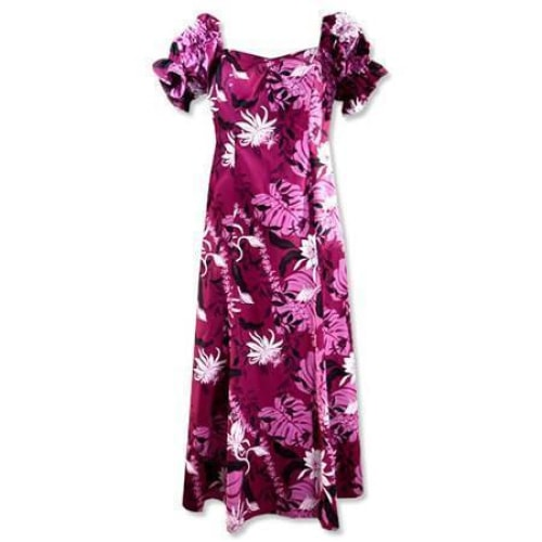 punahou purple hawaiian aikane dress | long dress hawaiian