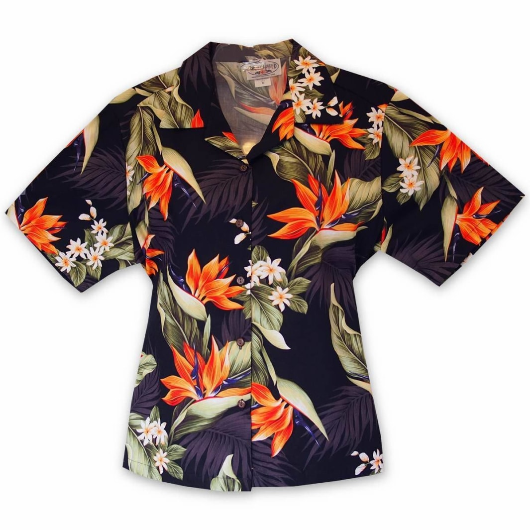 rainforest black lady camp blouse | women blouse hawaiian