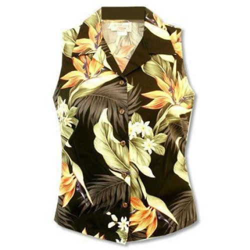 rainforest hawaiian sleeveless blouse | women blouse hawaiian