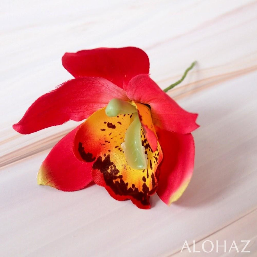 Red Cattleya Hawaiian Flower Stick | Hair Accessories