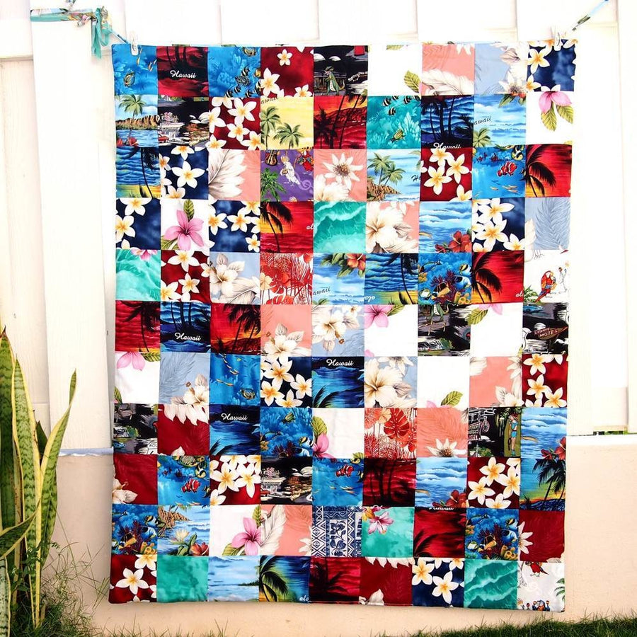 Red Hawaiian Patchwork Throw | quilt
