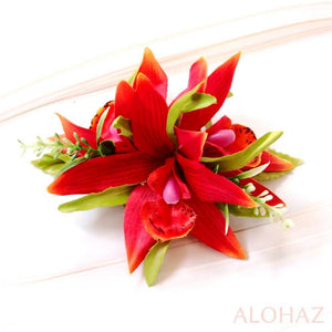 Red Orchid Burst Hawaiian Flower Hair Clip | Hair Accessories