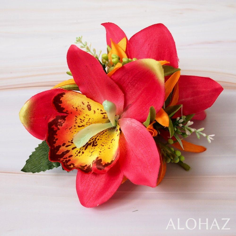 Red Queen Orchid Hawaiian Flower Hair Clip | Hair Accessories