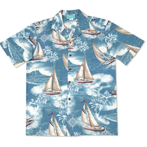 sail teal hawaiian cotton shirt | hawaiian shirt men