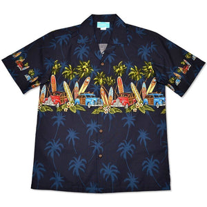 surf navy hawaiian border shirt | hawaiian border shirt