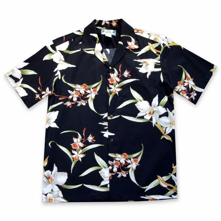 surprise black hawaiian cotton shirt | hawaiian shirt men