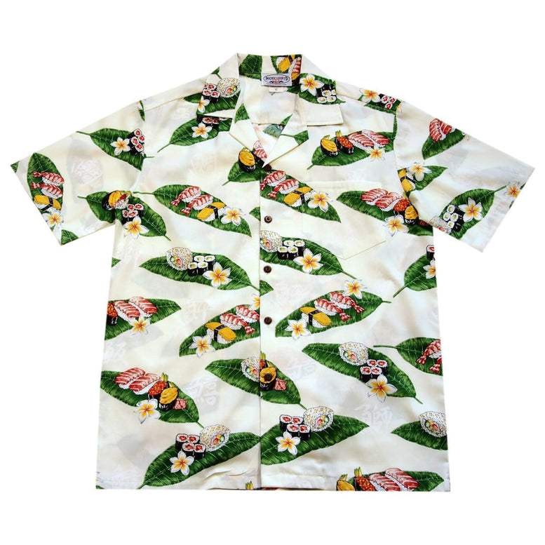 sushi white hawaiian cotton shirt | hawaiian shirt men