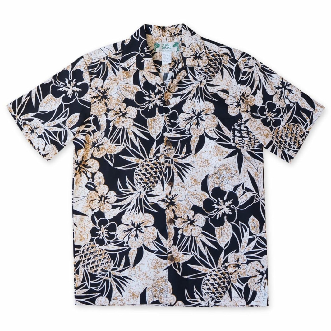 sweet pineapple black hawaiian cotton shirt | hawaiian shirt men