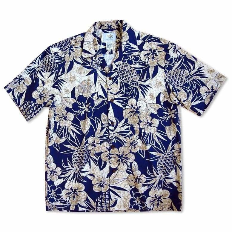 sweet pineapple blue hawaiian cotton shirt | hawaiian shirt men