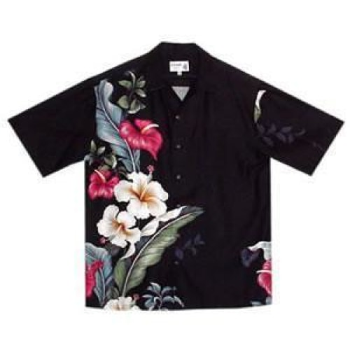sweetheart black hawaiian aloha rayon shirt | hawaiian men shirt