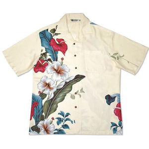 sweetheart cream hawaiian aloha rayon shirt | hawaiian men shirt