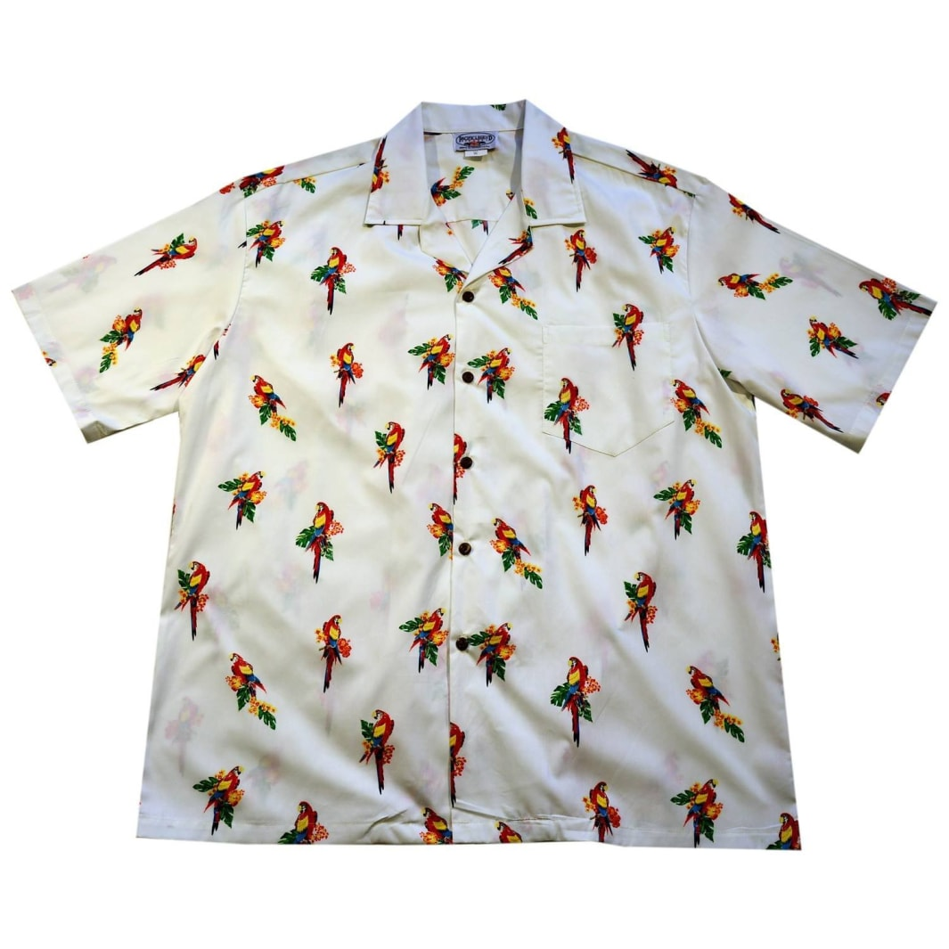 talking parrots white hawaiian cotton shirt | hawaiian shirt men