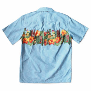 tiki jam blue hawaiian border shirt | hawaiian border shirt