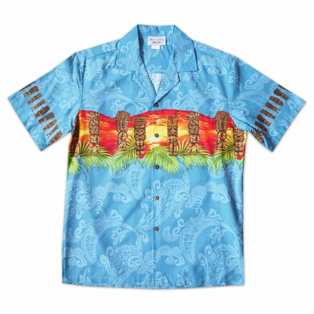 tiki waves blue hawaiian border shirt | hawaiian border shirt