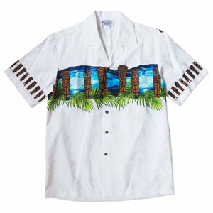 tiki waves white hawaiian border shirt | hawaiian border shirt