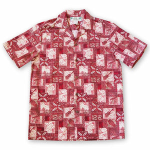 tropic vision red hawaiian cotton shirt | hawaiian shirt men