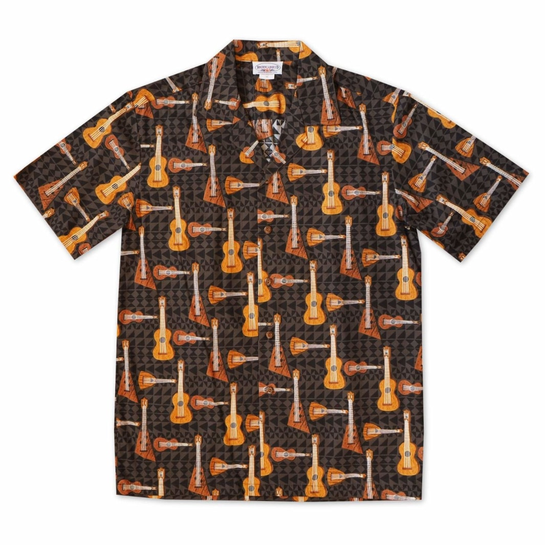 tropical strings black hawaiian cotton shirt | hawaiian shirt men