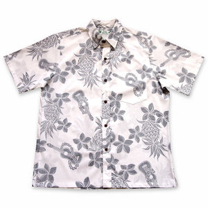 ukulele fun white reverse print hawaiian cotton shirt | hawaiian shirt men