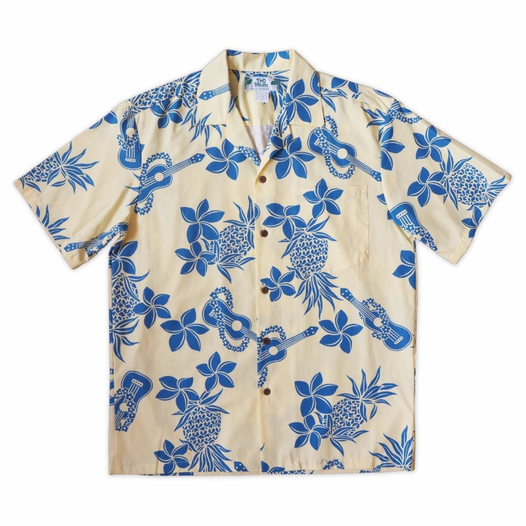 ukulele fun yellow hawaiian cotton shirt | hawaiian shirt men
