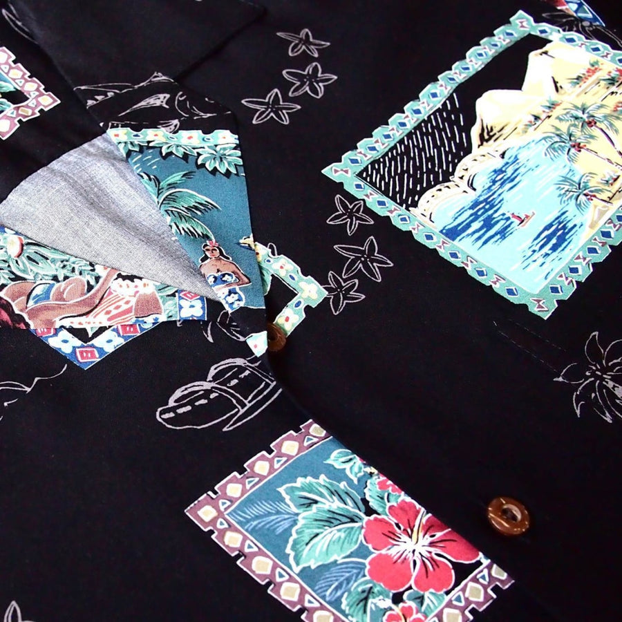 vintage portraits black hawaiian rayon shirt | hawaiian men shirt