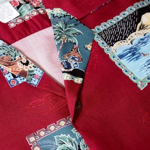 vintage portraits red hawaiian rayon shirt | hawaiian men shirt