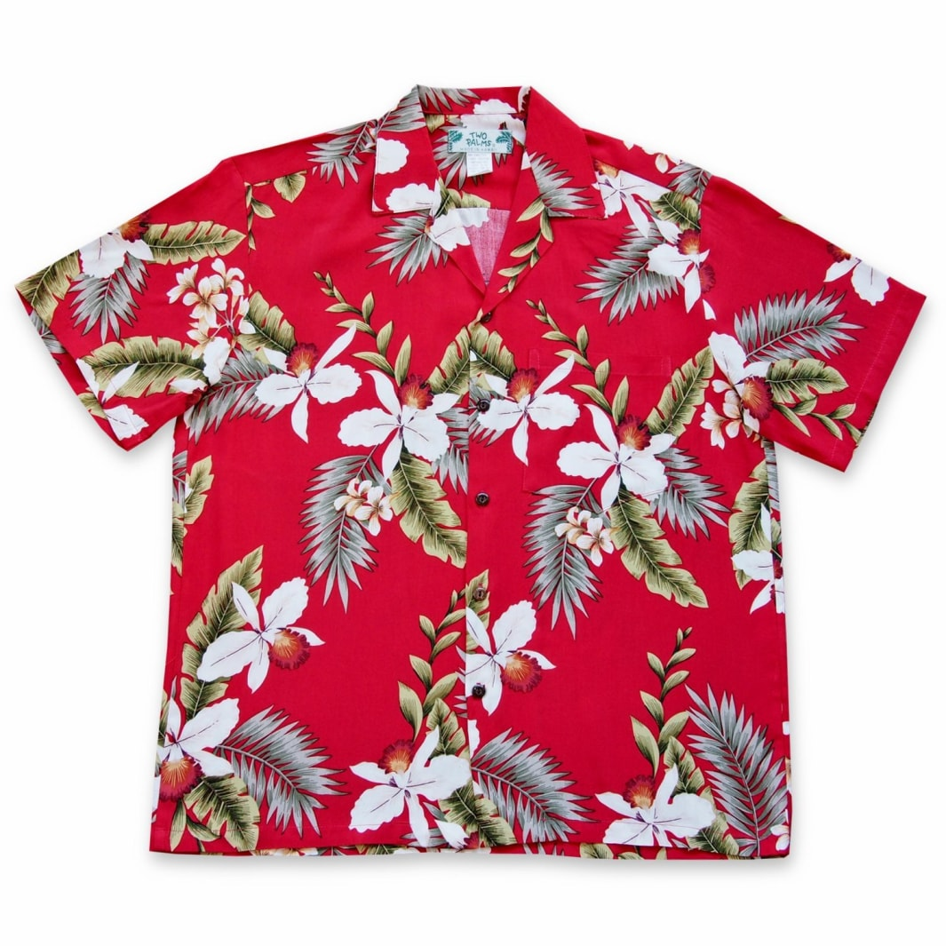 volcanic red hawaiian rayon shirt | hawaiian men shirt