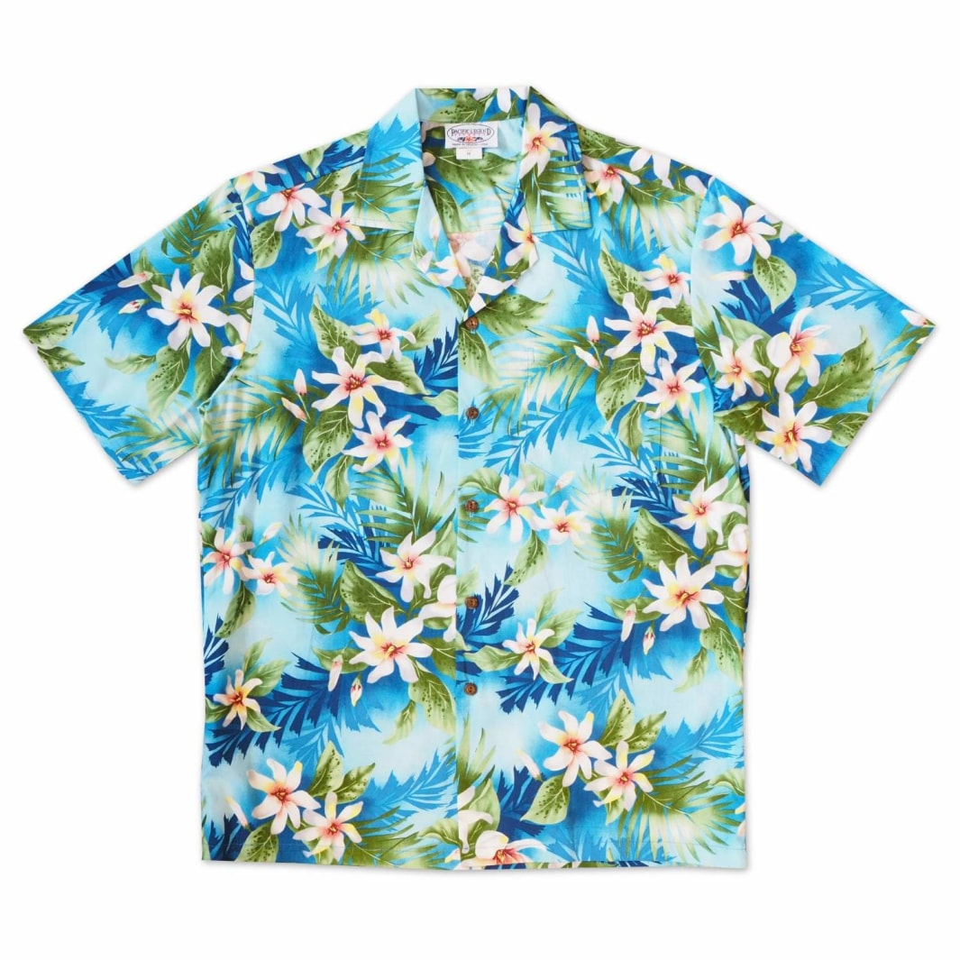 waikele blue hawaiian cotton shirt | hawaiian shirt men