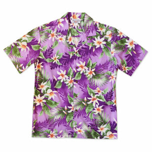 waikele purple hawaiian cotton shirt | hawaiian shirt men