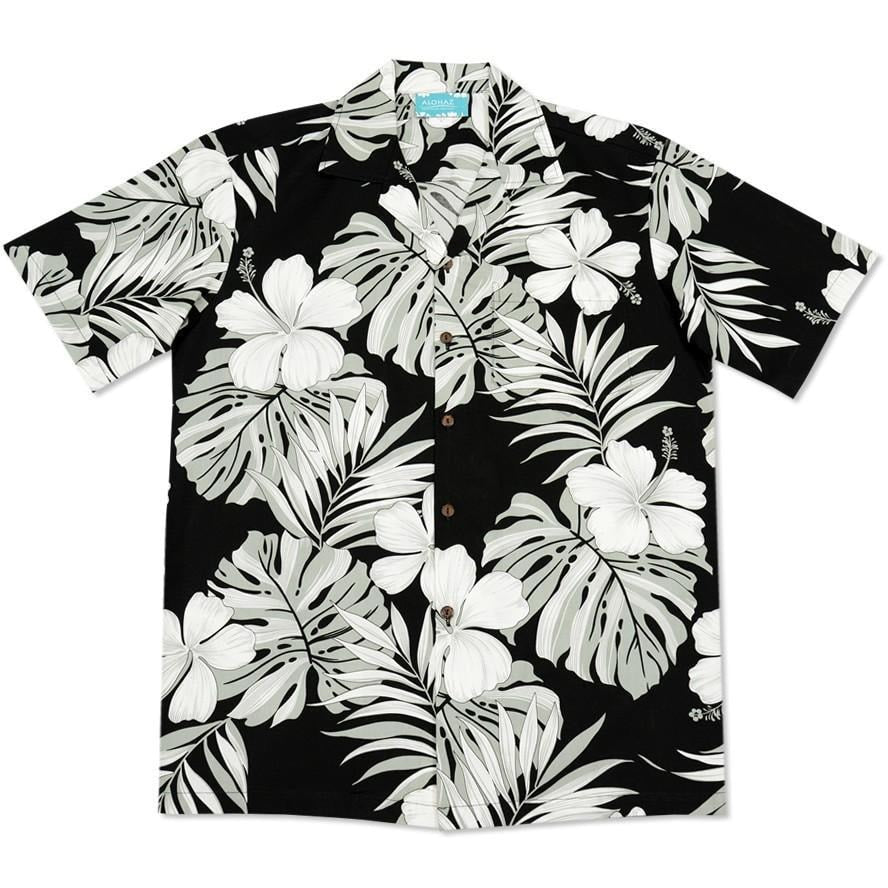 waikiki black hawaiian cotton shirt | hawaiian shirt men