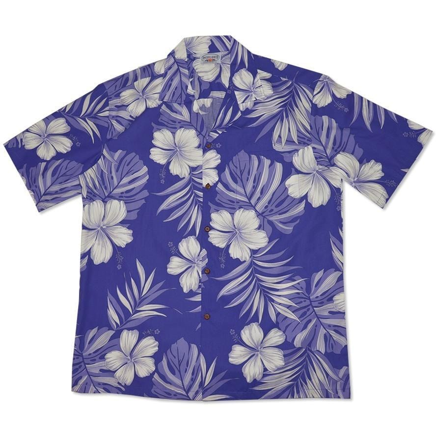 waikiki purple hawaiian cotton shirt | hawaiian shirt men