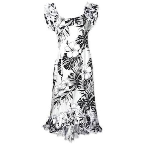 waikiki white meaaloha hawaiian dress | long dress hawaiian