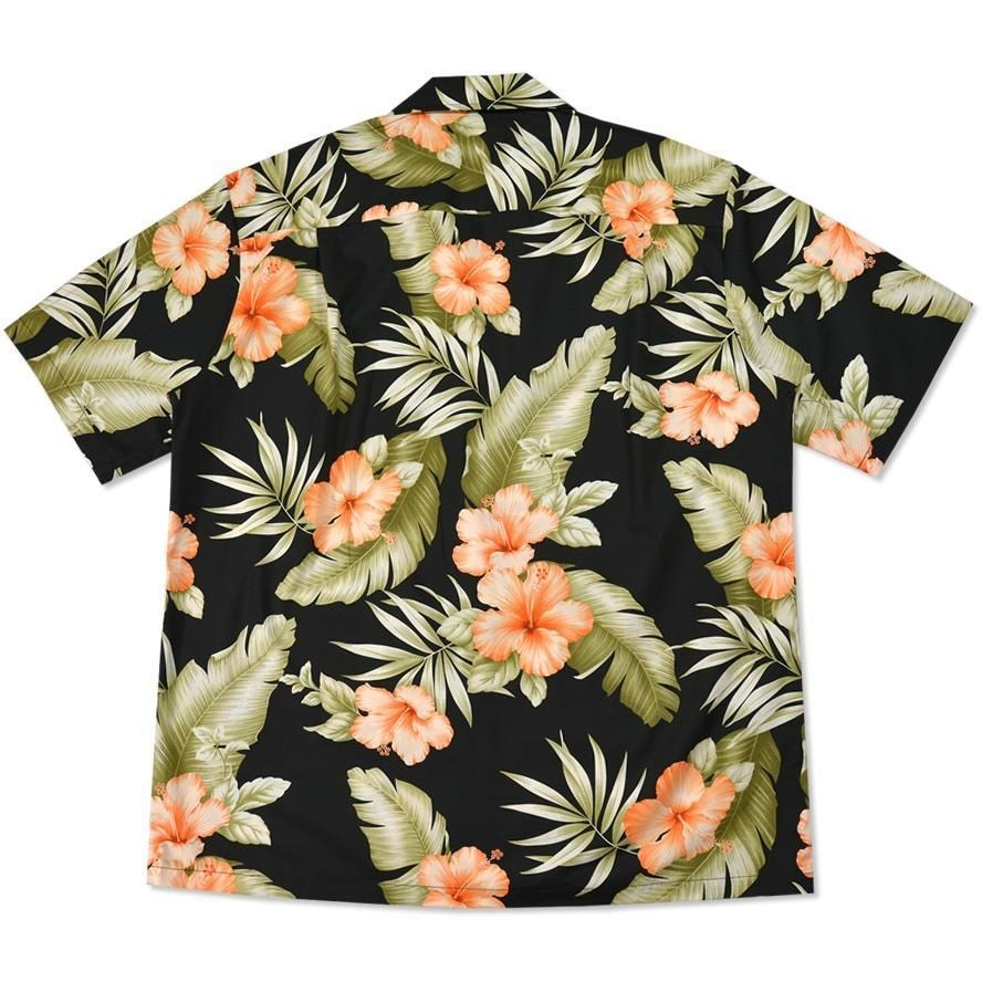 waimea black hawaiian cotton shirt | hawaiian shirt men