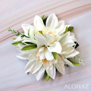 White Chrysanthemum Hawaiian Flower Hair Clip | Hair Accessories