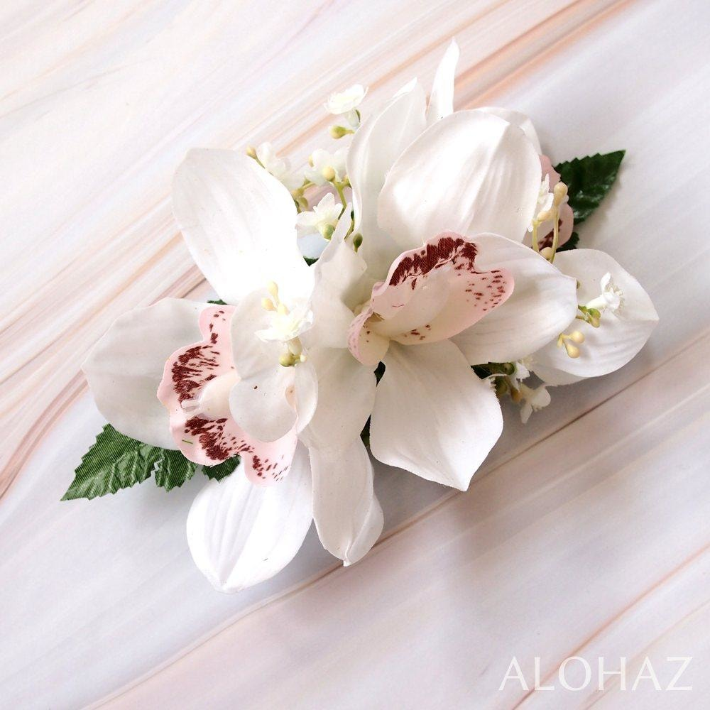 White Cymbidium Dream Hawaiian Flower Hair Clip | Hair Accessories