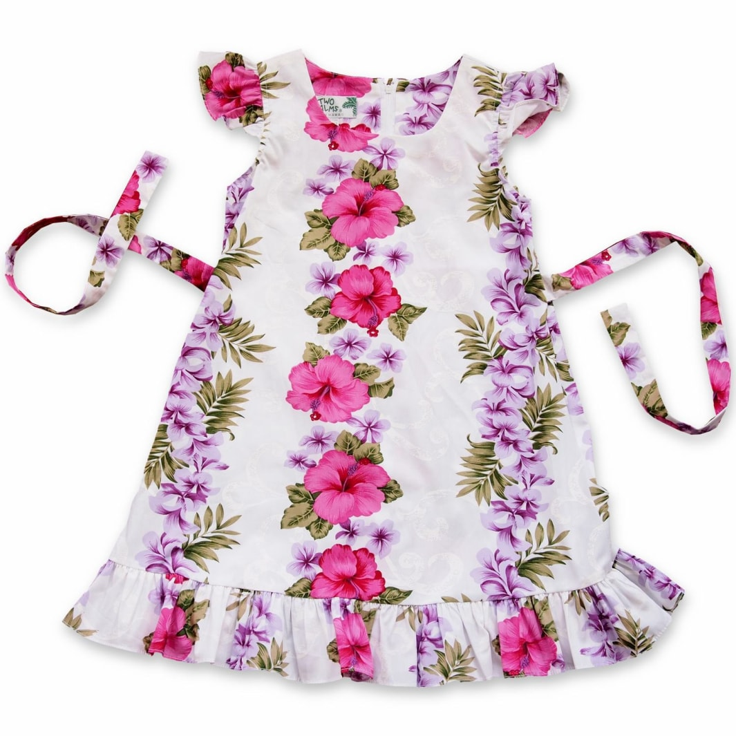 white mist hawaiian girl flutter dress | hawaiian girl dress