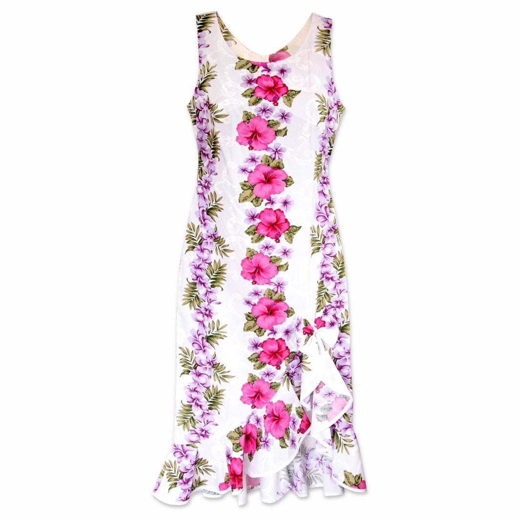 white mist hawaiian naniloa dress | hawaiian dress midi midlength