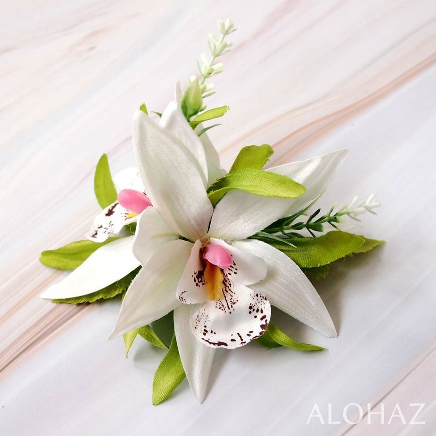 White Orchid Burst Hawaiian Flower Hair Clip | Hair Accessories