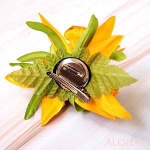 Yellow Orchid Burst Hawaiian Flower Hair Clip | Hair Accessories