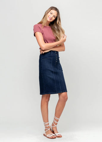 Buttonfly Midi Denim Skirt
