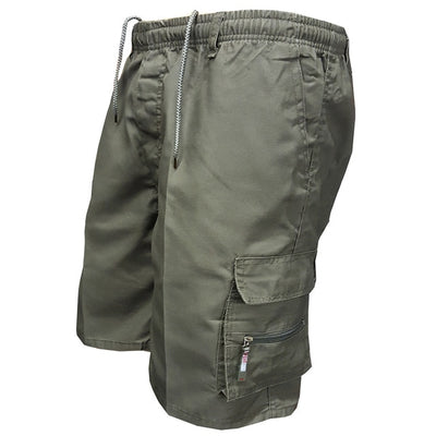 8c397a866f 2018 Men Multi Pocket Military Cargo Shorts Casual Cotton Loose Knee Length  Army