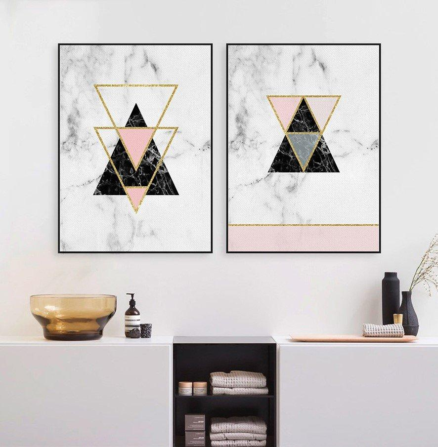 Nordic Style Geometric Marble Pattern Wall Art