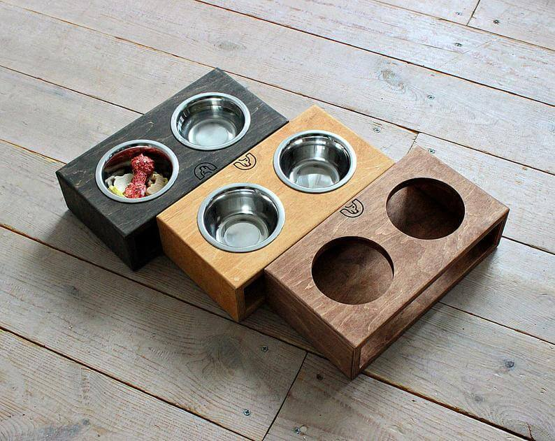 Mini Dog Bowls 200ml with Solid Double Stand