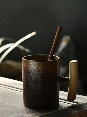 Coarse Pottery Mug with Wooden Handgrip