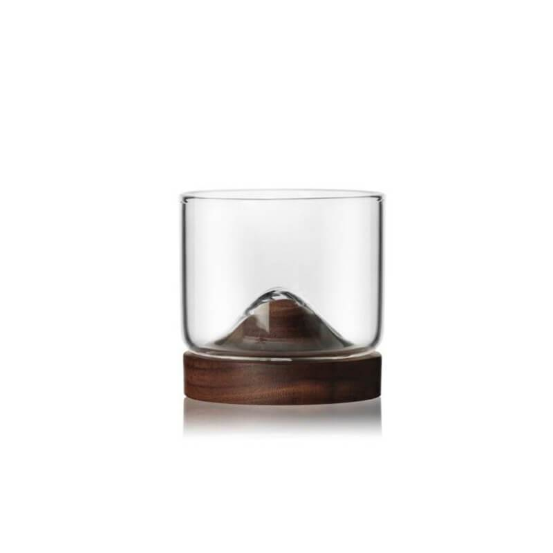 Small Mountain Glass with Wooden Base