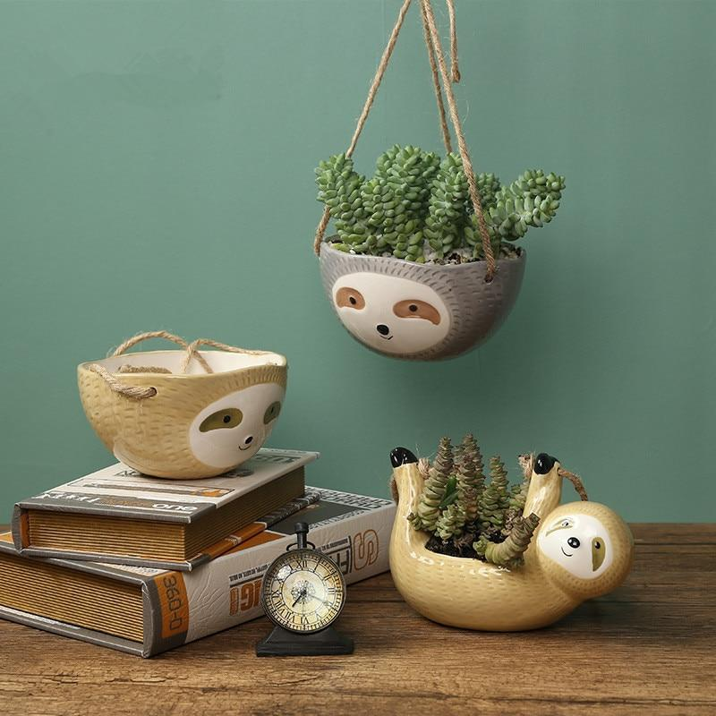 Hanging Sloth Flower Pot