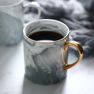 Gold-Rimmed Marble Coffee Mug