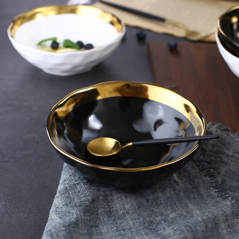 Ceramic Salad Bowl Gold