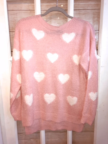 Sweater Pink with White Hearts Longer back