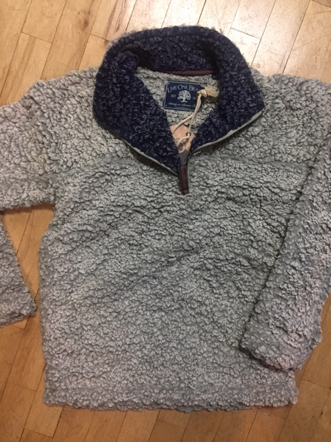 Sherpa Fleece Pullover Gray with Navy Neck